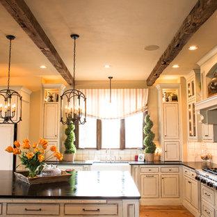 オクラホマシティの大きいラスティックスタイルのおしゃれなキッチン (エプロンフロントシンク、ヴィンテージ仕上げキャビネット、ソープストーンカウンター、テラコッタタイルのキッチンパネル、シルバーの調理設備の、無垢フローリング、落し込みパネル扉のキャビネット、白いキッチンパネル) の写真