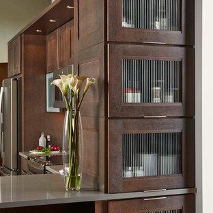 Ispirazione per una cucina a L minimal di medie dimensioni e chiusa con ante marroni, elettrodomestici in acciaio inossidabile, top in superficie solida, penisola e ante di vetro