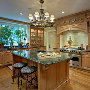 Inspiration for a large traditional l-shaped separate kitchen in DC Metro with an undermount sink, raised-panel cabinets, light wood cabinets, quartz benchtops, ceramic splashback, medium hardwood floors, with island, yellow splashback and green benchtop.