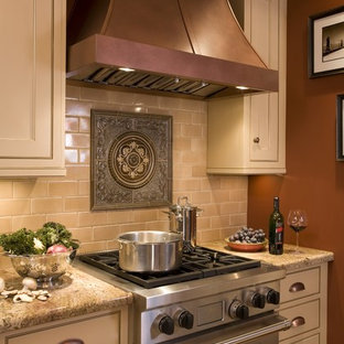 Kitchen - traditional kitchen idea in Portland with stainless steel appliances granite countertops beige & Medallion Backsplash | Houzz