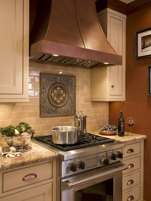 Medallion backsplash home design ideas pictures remodel and decor - Traditional kitchen tile backsplash ideas ...