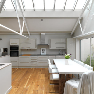 Eat-in kitchen - mid-sized modern medium tone wood floor and beige floor eat-in kitchen idea in London with an undermount sink, flat-panel cabinets, gray cabinets, stainless steel appliances and no island