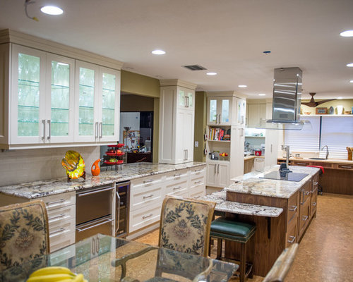 Kitchen Design Ideas Renovations Photos With Glass Front Cabinets And Cork Floors