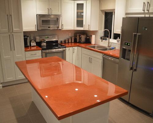 cuisine avec un plan de travail en cuivre et un vier 2 bacs photos et id es d co de cuisines. Black Bedroom Furniture Sets. Home Design Ideas