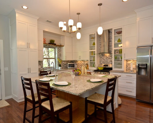 Eat in kitchen island home design ideas pictures remodel and decor - Charming small kitchen table ideas eat kitchen plan ...