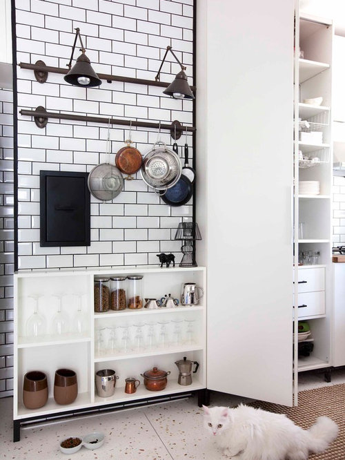 Black grout houzz for Black industrial kitchen