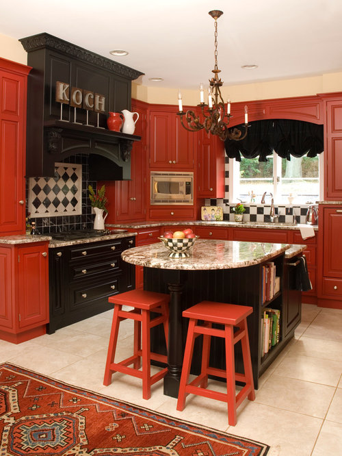 Inspiration For A Timeless Kitchen Remodel In Baltimore With Red Cabinets,  Raised Panel Cabinets
