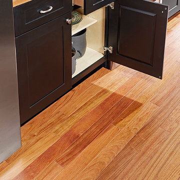 Kitchen with Black Cabinets - Newport Solid, Natural Brazilian Cherry Hardwood