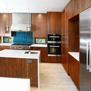 Expansive Orange/Blue/Walnut Kitchen