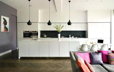 Hur inreder man övergången mellan vardagsrum och kök?