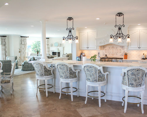 Shabby Chic Style L Shaped Open Plan Kitchen Design Ideas