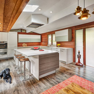 quartz countertops sacramento large midcentury modern kitchen designs kitchen large 1960s lshaped brown floor most popular with wood backsplash and quartz countertops