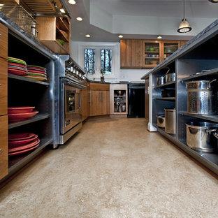 Пример оригинального дизайна: угловая кухня-гостиная среднего размера в стиле лофт с открытыми фасадами, врезной раковиной, кухней из нержавеющей стали, гранитной столешницей, техникой из нержавеющей стали, полом из линолеума и островом