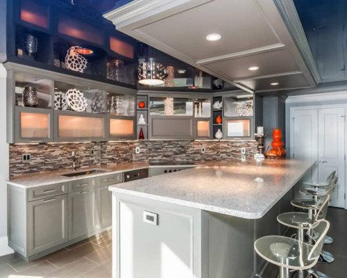 cuisine avec un plan de travail en terrazzo et un sol en carrelage de porcelaine photos et. Black Bedroom Furniture Sets. Home Design Ideas