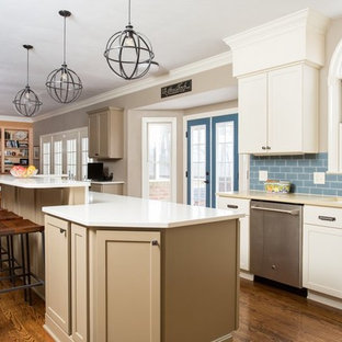 Huge transitional open concept kitchen designs - Open concept kitchen - huge transitional u-shaped dark wood floor open concept kitchen idea in Other with an undermount sink, shaker cabinets, gray cabinets, quartz countertops, blue backsplash, glass tile backsplash, stainless steel appliances and an island