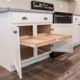 他の地域の中サイズのインダストリアルスタイルのおしゃれなキッチン (ドロップインシンク、シェーカースタイル扉のキャビネット、白いキャビネット、ラミネートカウンター、シルバーの調理設備の、無垢フローリング、グレーの床、マルチカラーのキッチンカウンター) の写真