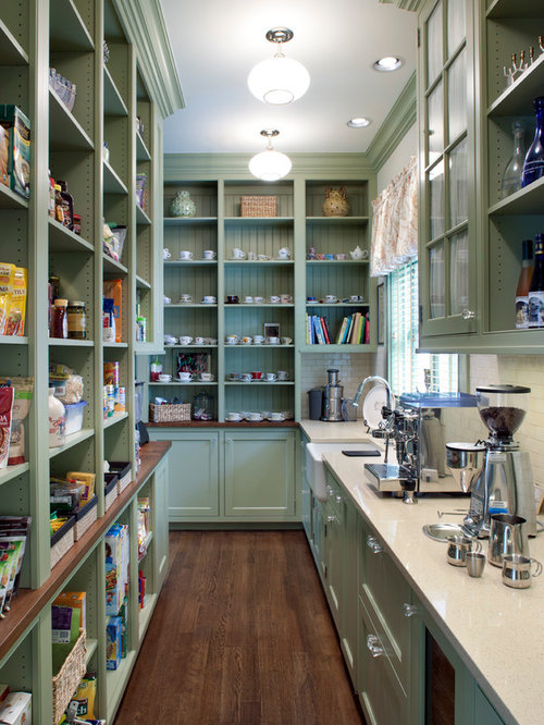 Victorian Kitchen Pantry Designs   Inspiration For A Victorian Dark Wood  Floor Kitchen Pantry Remodel In