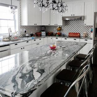ニューヨークの広いエクレクティックスタイルのおしゃれなキッチン (アンダーカウンターシンク、シェーカースタイル扉のキャビネット、白いキャビネット、御影石カウンター、白いキッチンパネル、モザイクタイルのキッチンパネル、シルバーの調理設備、濃色無垢フローリング、茶色い床、黒いキッチンカウンター) の写真