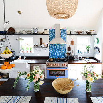 Fare Isle: Eclectic Eclectic Blue Tile Backsplash
