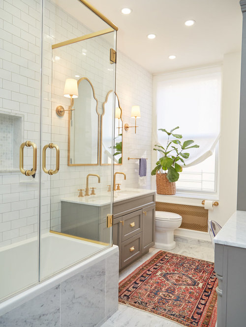 shower and tub combo for small bathrooms. Example of a transitional master white tile gray floor bathroom design in  New York with recessed 25 Best Tub Shower Combo Ideas Houzz