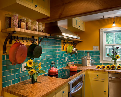 Pumpkin wall color houzz for Cool kitchen wall colors