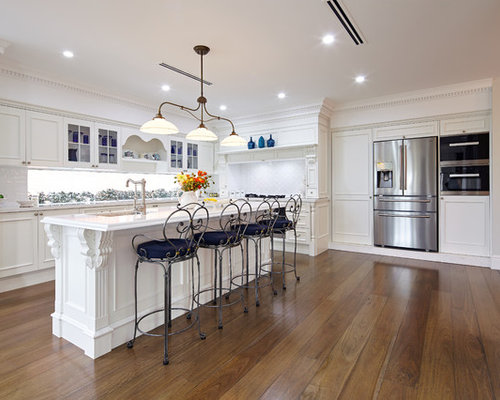 Design Ideas For A Traditional U Shaped Kitchen In Sydney With White  Cabinets, White