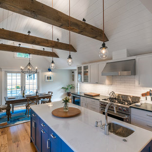 Farmhouse kitchen photos - Country medium tone wood floor kitchen photo in Boston with flat-panel cabinets, blue cabinets, quartzite countertops, white backsplash, ceramic backsplash, stainless steel appliances and two islands