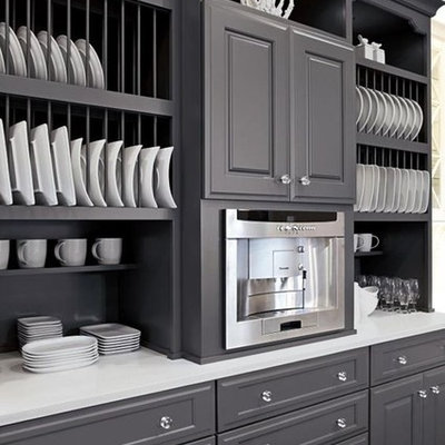 Inspiration for a mid-sized country kitchen remodel in New York with recessed-panel cabinets, gray cabinets, gray backsplash and stainless steel appliances