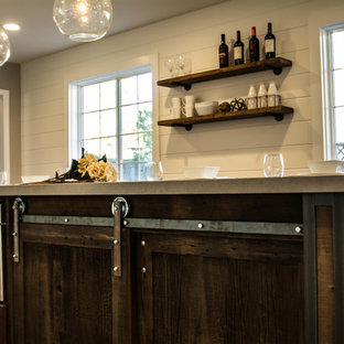 Small farmhouse kitchen designs - Inspiration for a small cottage l-shaped kitchen remodel in San Francisco with shaker cabinets, dark wood cabinets, quartz countertops, white backsplash, subway tile backsplash and an island