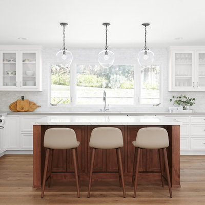 Mid-sized transitional u-shaped medium tone wood floor and brown floor open concept kitchen photo in San Francisco with an undermount sink, shaker cabinets, white cabinets, marble countertops, marble backsplash, stainless steel appliances, two islands, white countertops and gray backsplash
