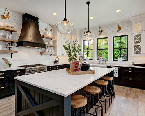 Farmhouse Kitchen Designs   Example Of A Country L Shaped Medium Tone Wood  Floor And