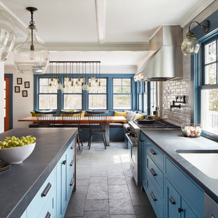 75 Beautiful Slate Floor Kitchen With Blue Cabinets Pictures Ideas December 2020 Houzz