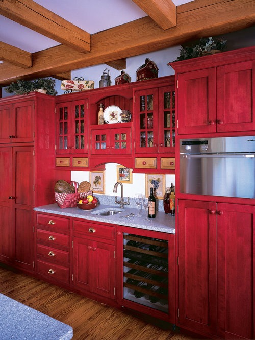 Rustic shaker cabinet home design ideas pictures remodel for White cabinets red walls kitchen
