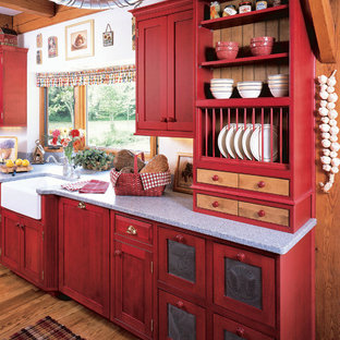 Design ideas for a country kitchen in Other with open cabinets, a farmhouse sink and red cabinets.