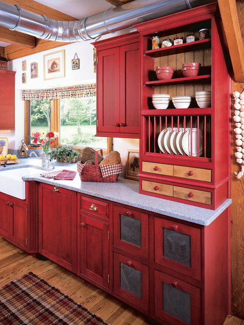 Distressed Red Kitchen Cabinets Design Ideas & Remodel Pictures ...