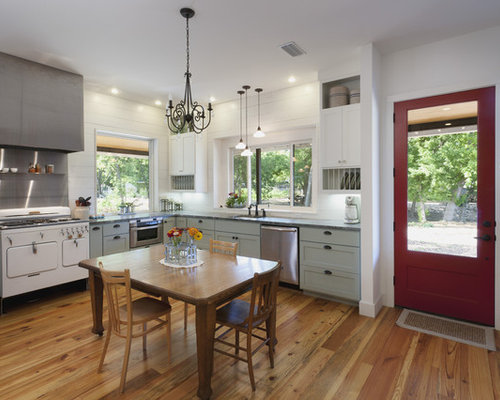 Country Eat In Kitchen Photo In Austin With White Appliances, Green  Cabinets And Shaker