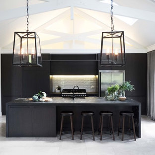 Inspiration for a medium sized contemporary kitchen/diner in Auckland with flat-panel cabinets and black cabinets.