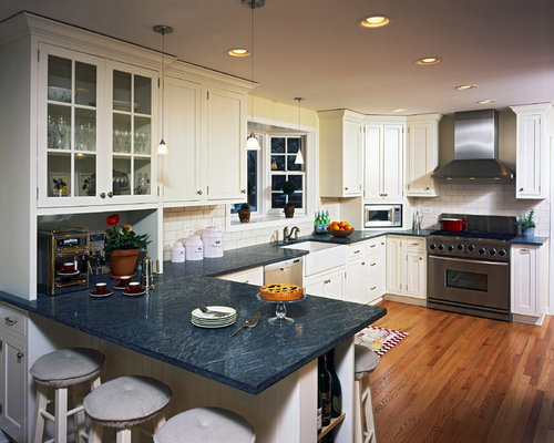 Captivating Country Kitchen Photo In Chicago With Glass Front Cabinets, A Farmhouse  Sink, White