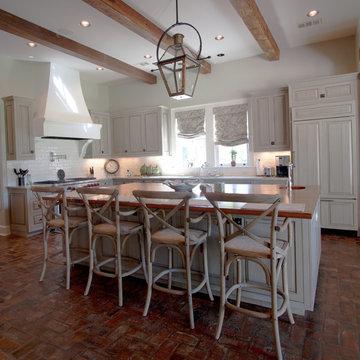 Farmhouse Kitchen with Brick Floor & Gas Lantern