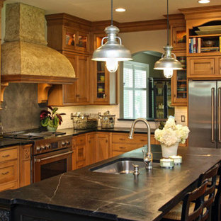 Farmhouse Kitchen with Wood Cabinets and Soapstone Countertops