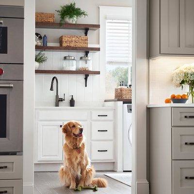 Eat-in kitchen - large country l-shaped eat-in kitchen idea in Other with shaker cabinets, gray cabinets and an island