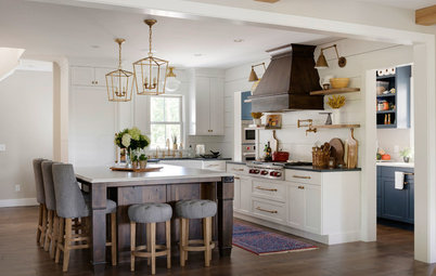 Kitchen and Butler's Pantry in White, Wood and Blue