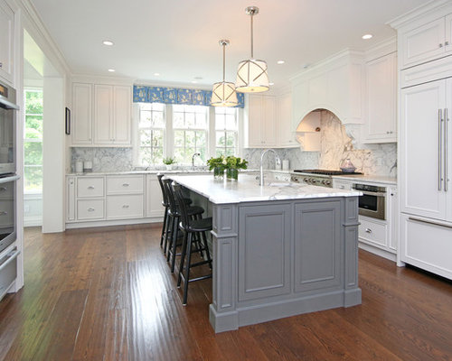 Grey And White Kitchen With Island grey island | houzz