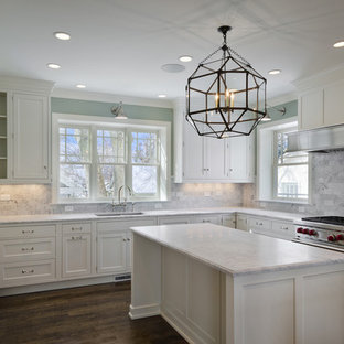 Traditional kitchen in Salt Lake City with an undermount sink, recessed-panel cabinets, white cabinets and stainless steel appliances.