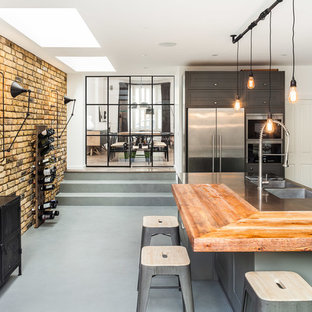 Urban kitchen in London with a double-bowl sink, wood worktops, stainless steel appliances, an island and grey cabinets.