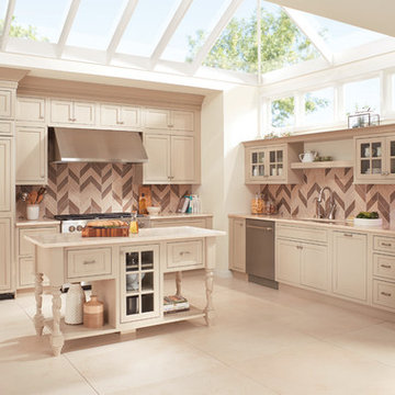 Fieldstone Cabinetry Inset Kitchen in Maple finished in Stone