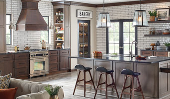 Fieldstone Cabinetry Transitional Cherry Kitchen in Gray and Brown