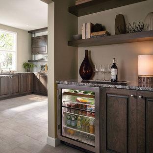 Fieldstone Cabinetry Transitional Cherry Kitchen in Slate with Ebony Glaze