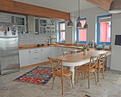 maritime k chen mit zink arbeitsplatte ideen design bilder houzz. Black Bedroom Furniture Sets. Home Design Ideas