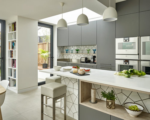 Contemporary Single Wall Kitchen/diner In London With Flat Panel Cabinets,  Grey